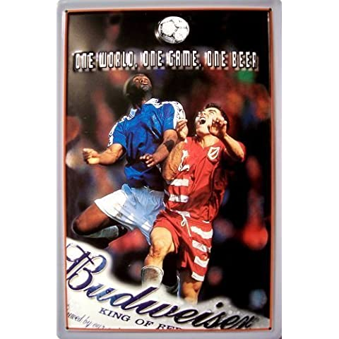 Budweiser Football Targa latta Tin Sign visiera metallo 20 x 30 cm