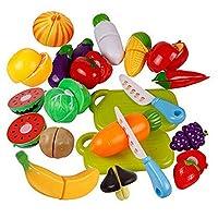 Dontdo Children Kids Play Toys Kitchen Plastic Fruit Vegetable Food Pretend Reusable Role Play Cutting Set