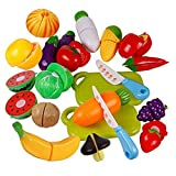 timeracing Children Kids Play Toys Kitchen Plastic Fruit Vegetable Food Pretend Reusable Role Play Cutting Set