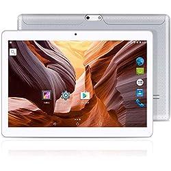 YUNTAB K107 10.1'' Andorid Tablette,MTK6580 Quad-Core 1.3GHz, 2 Go de RAM + 16 Go de ROM, écran HD IPS,Double Emplacement pour Carte SIM, Prise en Charge 3G / 2G, WI-FI, GPS, Bluetooth(Argent)