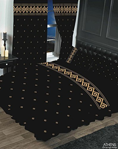 Athen schwarz/gold, super king size Bettbezug/Bettwäsche-Set, Steppdecke, Set, HICO, Griechisch Schlüssel/Seil Effekt, metallic gold (Dark Tan-bettwäsche-set)