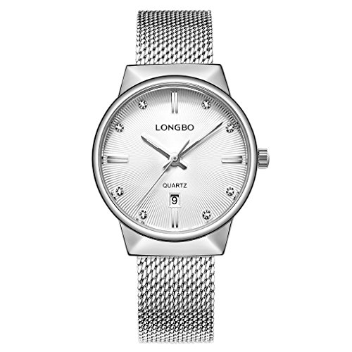 LONGBO Women Vogue Silver Mesh Strap Girlfriend