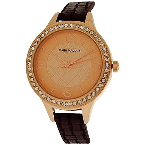 Mark Maddox Ladies Rose-Goldtone Analogue Dial Brown PU Strap Watch MC6001-25 (Certified Refurbished)