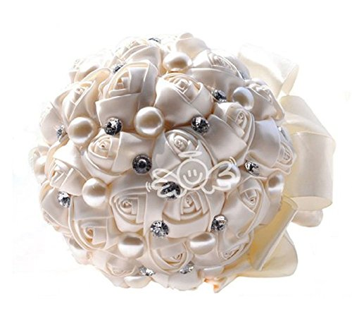 Custom handmade wedding bouquet holding flower silk rose bouquets for bridal bridesmaid with pearl rhinestone satin ribbon ivory