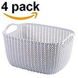 FASTUNBOX (LABEL) Rattan Plastic Storage Baskets/Bins Organizer with Handles (4, Big)