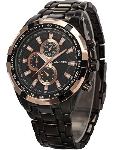 AMPM24-goldene-Ring-Herren-Uhr-Analog-Quarzuhr-Edelstahl-schwarz-Armbanduhr-AMPM24-Geschenkbox