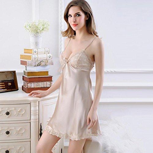 Pyjamas Sexy Dress Frauen Sommer dünne Unterwäsche Nachthemden Ice Silk-Backless kurzen Rock Spun Silk GAOLILI (Farbe : A, größe : Skirt Length 76cm)