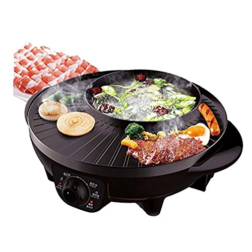 Cookware BBQ Poke Hot Pot Dual Topf-Grill-Maschine, Non-Stick Multifunktionale Rauchfreie Runde Backform Mehrzweck-Topf - Hot Pot