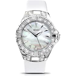 Seksy Intense White MOP Dial Leather Strap Ladies Watch 4430 + Free Pendant Gift