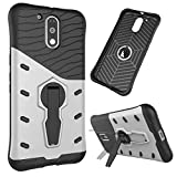Heartly Hybrid Sniper Armor With 360 Degrees Rotation Durable Kickstand Hard Dual Shockproof Back Case Cover For Motorola Moto G Plus 4th Gen / Moto G4 Plus / Moto G4 – Champagne Silver