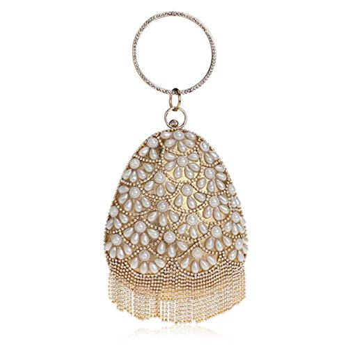 FZHLY Damen Abendtasche Mode Schulter Portable Bankett Tasche Gold