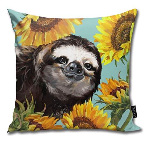 Kissenbezug, Motiv Faultier mit Sonnenblumen, quadratisch, für Schlafzimmer, Wohnzimmer, Dekoration, 45,7 x 45,7 cm