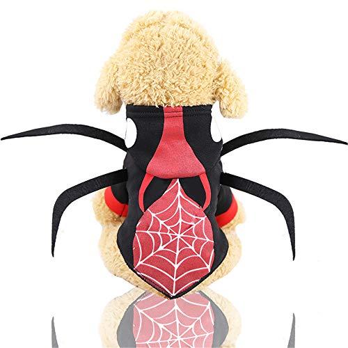 Muster Käfer Kostüm - Simis Haustier Cosplay Kostüme, lustige Spinnennetz und Käfer Muster Hundemantel Katze Halloween Party Bekleidung Kleidung warme atmungsaktive Hoodies,S
