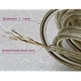 PVC Coated Steel Anti-Rust Wire Laundry Rope 20 Meter for Washed Clothes Drying,Drying and Hanging Indoor and Out Door,Fancy Style with 2 Plastic Hooks (Pack of Two Pieces 20 Meter) - (Multicolored)