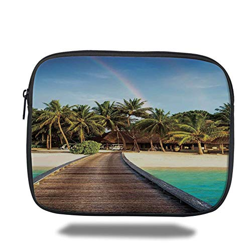 Green Island Resort (Tablet Bag for Ipad air 2/3/4/mini 9.7 inch,Beach,Wooden Bridge to Island Beach Resort with Colorful Rainbow Over Palm Trees,Brown Green Aqua,Bag)