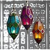 Luxury Candles - Lámparas de techo (tamaño grande, cristal), diseño marroquí
