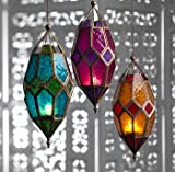 (Orange & Red) - Moroccan style large hanging glass lantern (Orange & Red)