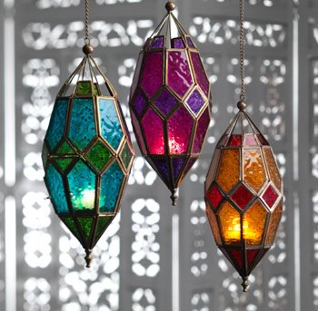 Luxury Candles Moroccan style large hanging glass lantern (Turquoise amp; Green)