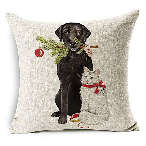 display08, weihnachtliche Kissenhülle mit Weihnachtsmann, Rentier, und Hund, Sofakissenhülle zur Heimdeko, Leinen, #15 Black Lab and White Kitty, #15 Black Lab and White Kitty