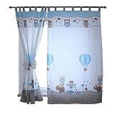 TupTam Kinderzimmer Vorhänge 2er Set mit Schleifen 155x95cm , Farbe: Eulen 2 Blau, Größe: ca. 155x95 cm