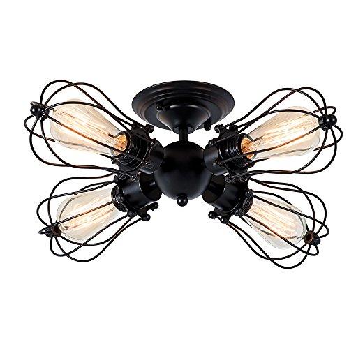 Deckenleuchte Retro Metall Deckenleuchte Antik Retro Lampe für Landhaus Schlafzimmer Wohnzimmer Esstisch(Birne nicht enthalten) (Modernes Schwarz, 4 Lichter)