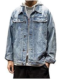 WQ&EnergyMen Men Autumn Lapel Vintage Washed Multi-Pocket Japanese Denim Jacket