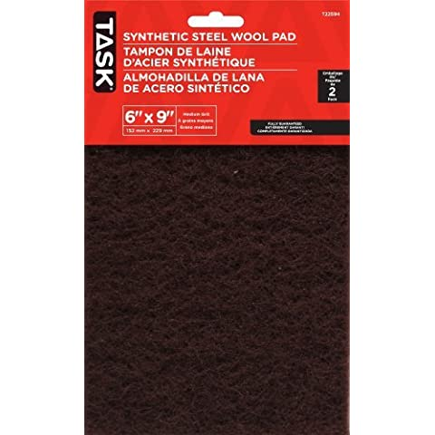 Task Tools T22594 6-Inch by 9-Inch Synthetic Steel Wool Pad, Med, Maroon, by Task Tools