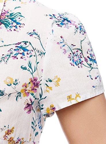 oodji Collection Femme Blouse Imprimée en Tissu Léger Blanc (1019F)