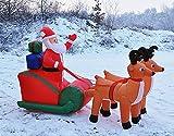 GYD Weihnachtsmann mit Schlitten Rentierschlitten mit Weihnachtsmann aufblasbar beleuchtet 240 cm lang außen Beleuchtung