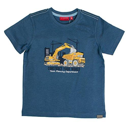 SALT AND PEPPER Jungen Construction Uni Print T-Shirt, Blau (Storm Blue Melange 479), 128 (Herstellergröße: 128/134) (Storm Kostüm Kinder)