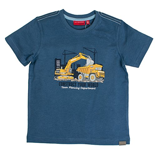 SALT AND PEPPER Jungen T-Shirt Construction Uni Print, Blau (Storm Blue Melange 479), 116 (Herstellergröße: 116/122)