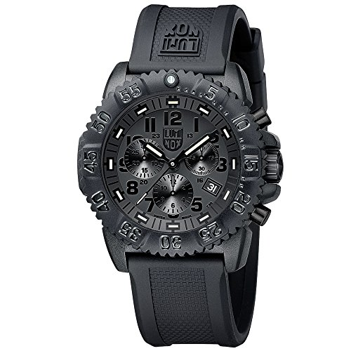 Luminox Navy SEAL Colormark Chronograph Men's Quartz watch with Black dial featuring LLT Luminox light Technology 44 millimeters Carbon Compound case and Black PU Strap XS.3081.BO.1