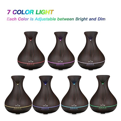 Tomshine 400ml Aroma Diffusor mit Holzmaserung   Flüsterleise – Einstellbar – mit 7 Lichtfarben - 4