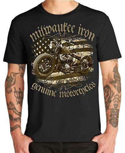 Chopper Biker Motorrad T-shirt (Biker T-Shirts Milwaukee Chopper Bobber Skull V2 Motorrad Serie (XL, Pan 1941))