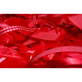 Assorted Red Ribbon, Approx 25m Per Bag by Anycraft-UK