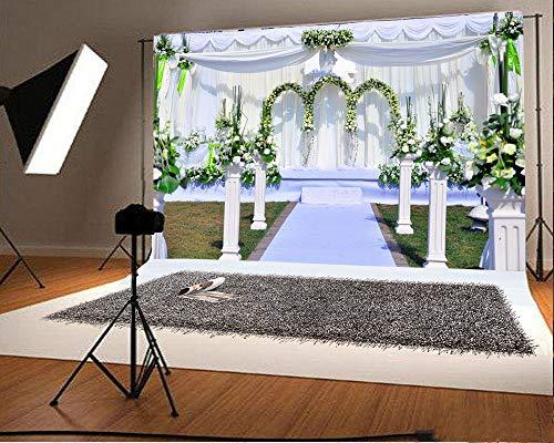 GzHQ 7x5FT Hintergrund Hochzeitsfeier Empfang Fotografie Hintergrund Bogen Blumen Rebe Outdoor-Zeremonie Dekorationen Frische Blumen Römische Säule Weißer Vorhang Teppich Videostudio Prop (Kit Bogen Machen Baby-dusche)