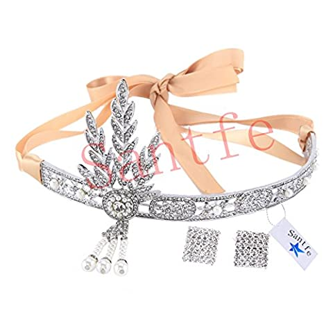 Santfe 1920's Great Gatsby Vintage Rhinestone Crown Charleston Bridal Headband Headpiece Earrings