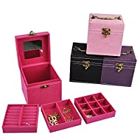 ViVo© Cube Ring Necklace Bracelet Jewellery Display Storage Vintage Box Case Organiser - Black