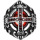 XNCBM Joyería del Acero Inoxidable 316L para Hombre CZ Celta Cruz de la Vendimia del Anillo de la Flor de lis Oval gótica del Motorista Rojo Negro Plata