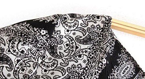 Rcool Retro-böhmische Totem Floral bedruckte Abendkleid für Damen Schwarz