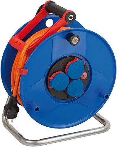 Brennenstuhl Garant IP44 Kabeltrommel (40m - Spezialkunststoff, Einsatz im Außenbereich und rund ums Haus, Made In Germany) blau