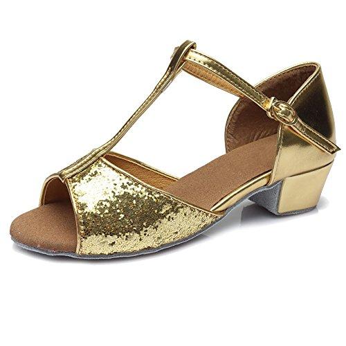HIPPOSEUS Damen & Mädchen Sandalen Ausgestelltes Tanzschuhe/Ballsaal Standard Pailletten Latein Dance Schuhe,DE205,Gold,EU 32
