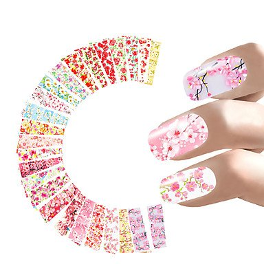WZW 24 Sheets Nail Sticker Flower Water Decals Transfer Foil Rose Peony Sakura Floral Design Nail Wrap For Valentine's Day Nails Art Random style