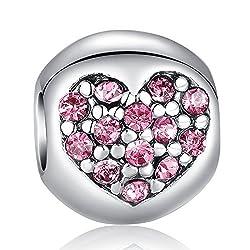 Carina Pink Heart Charm Fits Pandora Bracelets