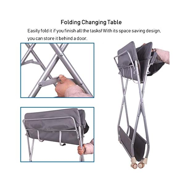 Nursery Baby Changing Table Folding Diaper Station for Small Spaces, Portable Infant Massage Station Dresser with Wheels, Grey, 0-3 Years Old AA-SS-Changing Table Stable Construction: Sturdy metal frame keep the table stable. While the other part is made of durable and wearable cotton. Folding: Easily fold it if you finish all the tasks! With its space saving design, you can store it behind a door. Large Storage Space: Equipped with 3 compartments aside the table, you can place soaps, towels and any other accessories conveniently. 6