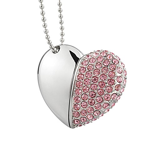 Kexin chiavetta usb 32 gb pendrive usb 2.0 metallo premium cuore diamante ad alta velocità memoria stick pennetta unità flash girevole mini chiave per pc/laptop/ regalo per la scuola/ufficio (rosa)