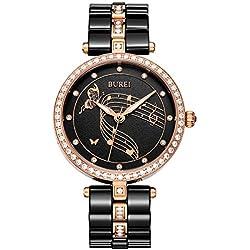 BUREI Femme Swarovski Cristaux Bracelet en céramique Noir Pointeur Lumineux Montre à Quartz Montre-Bracelet (Rosa)