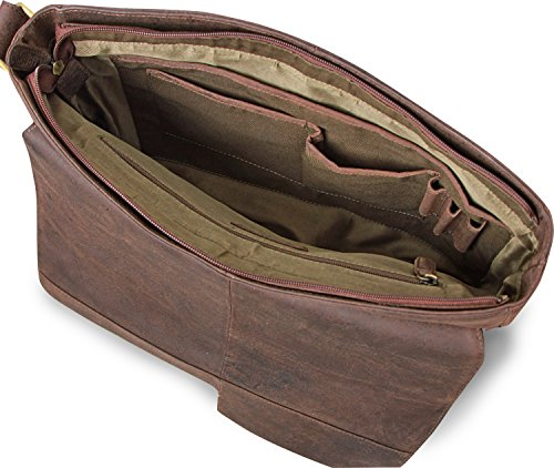LEABAGS Boston borsa a tracolla vintage in vera pelle di bufalo - Noce moscata Noce moscata