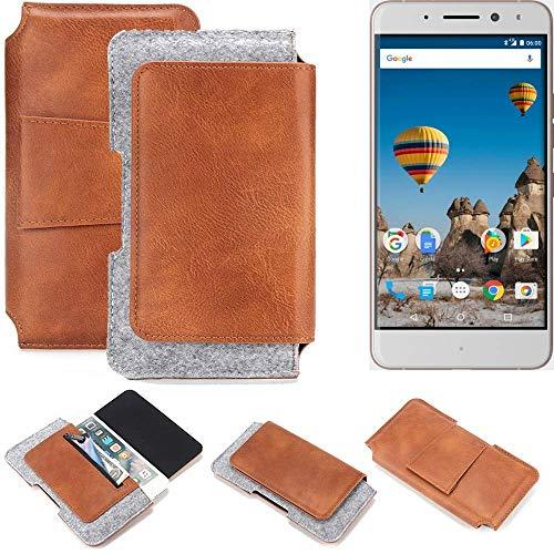 K-S-Trade General Mobile GM 5 Plus Gürteltasche Schutz Hülle Gürtel Tasche Schutzhülle Handy Smartphone Tasche Handyhülle PU + Filz, braun (1x)