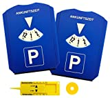 M&H-24 Parkscheibe/Parkuhr Auto mit Einkaufswagenchip und Reifenprofilmesser Eiskratzer Kunststoff Blau (2 Stück)